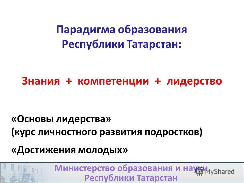 Парадигма образования Республики Татарстан: Знания + компетенции + лидерство 25 «Основы лидерства» (курс личностного развития подростков) «Достижения молодых»