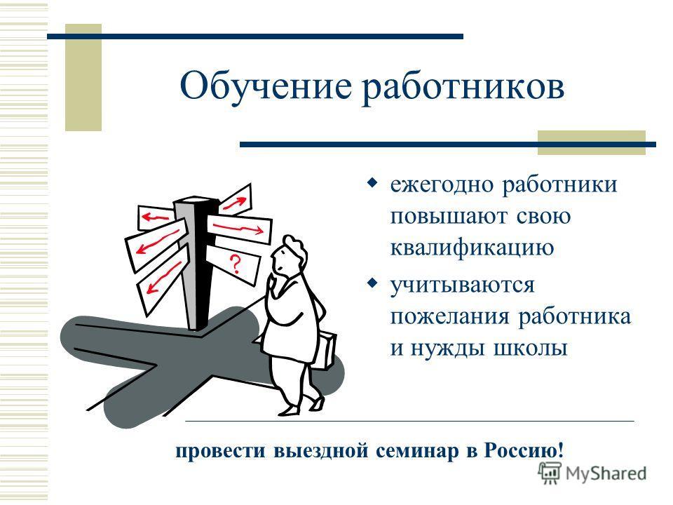 Обучение работников ежегодно работники повышают свою квалификацию учитываются пожелания работника и нужды школы провести выездной семинар в Россию!