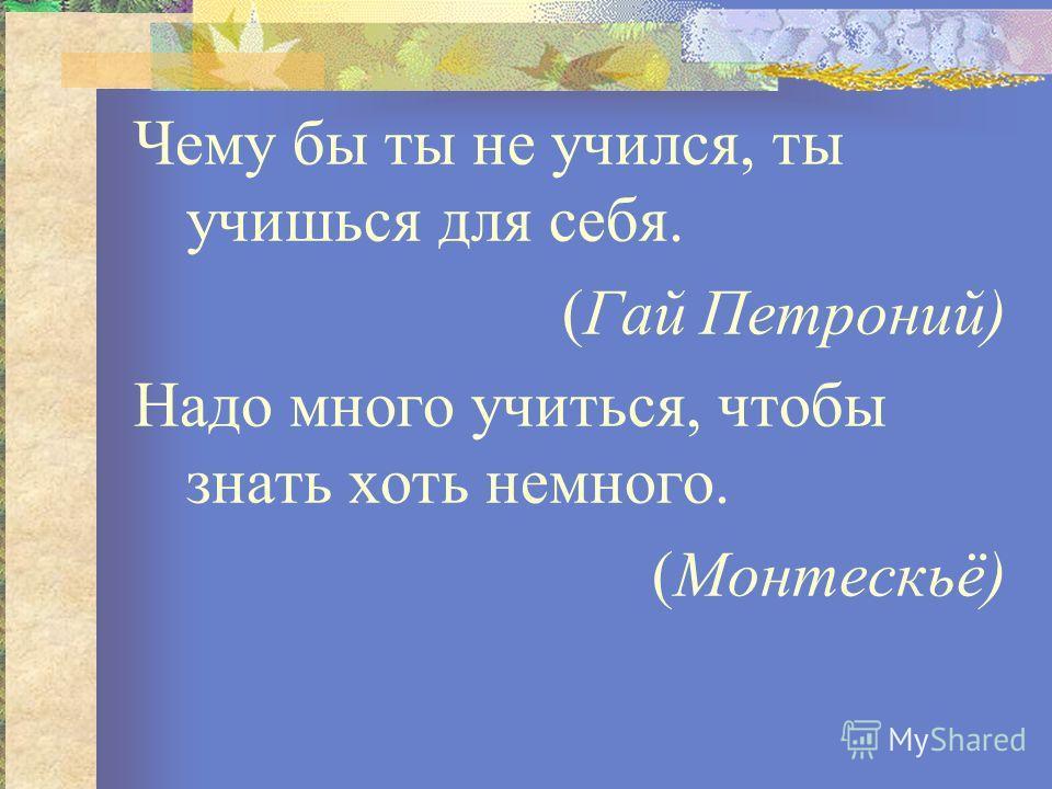 Чему бы ты не учился, ты учишься для себя. (Гай Петроний) Надо много учиться, чтобы знать хоть немного. (Монтескьё)