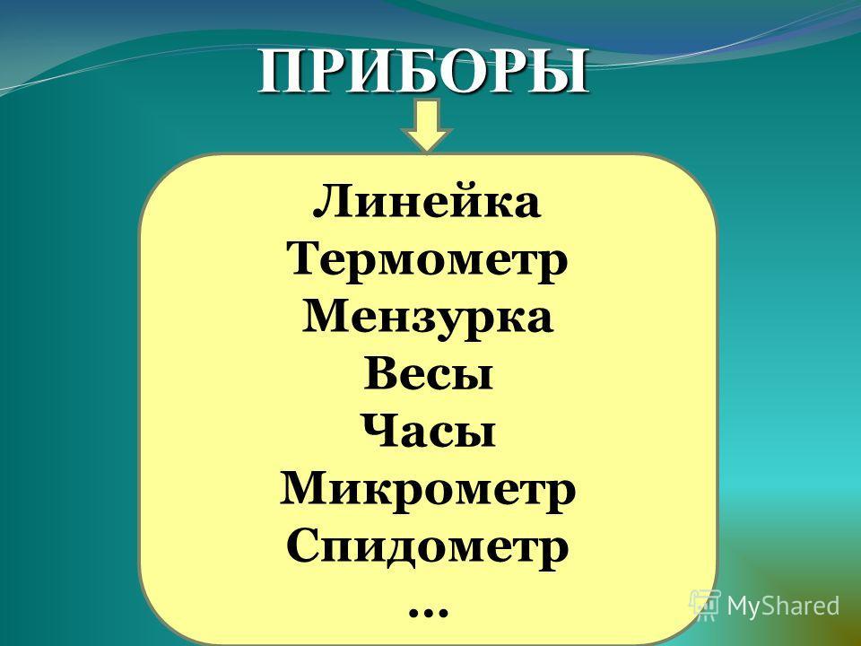 Линейка Термометр Мензурка Весы Часы Микрометр Спидометр … ПРИБОРЫ
