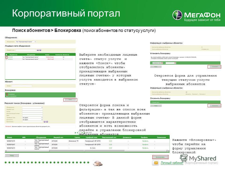 Корпоративный портал Поиск абонентов > Блокировка (поиск абонентов по статусу услуги) Откроется форма поиска и фильтрации, а так же список всех абонентов, принадлежащих выбранным лицевым счетам. В данной форме отображаются характеристики абонентов и