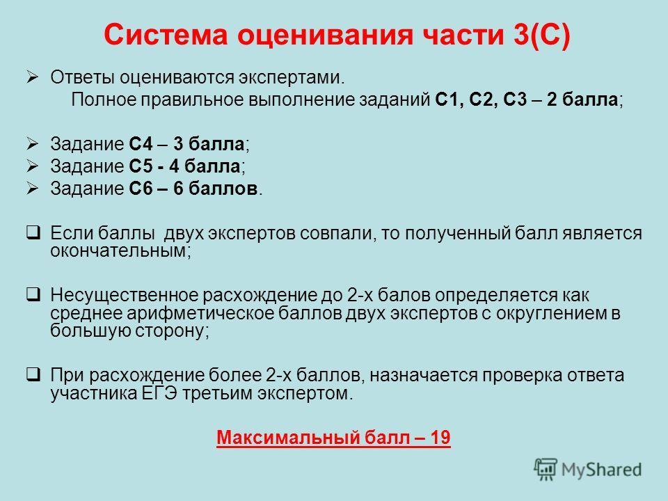 Система оценивания части 3(С) Ответы оцениваются экспертами. Полное правильное выполнение заданий С1, С2, С3 – 2 балла; Задание С4 – 3 балла; Задание С5 - 4 балла; Задание С6 – 6 баллов. Если баллы двух экспертов совпали, то полученный балл является