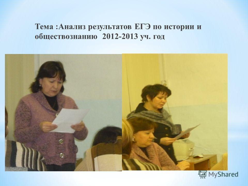 Тема :Анализ результатов ЕГЭ по истории и обществознанию 2012-2013 уч. год