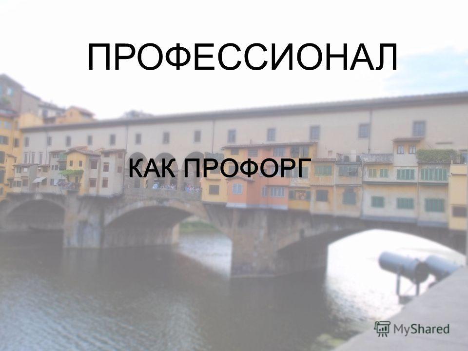 ПРОФЕССИОНАЛ КАК ПРОФОРГ