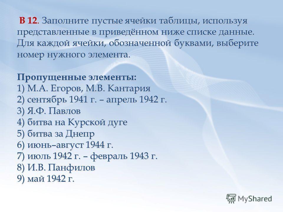 В 12. Заполните пустые ячейки таблицы, используя представленные в приведённом ниже списке данные. Для каждой ячейки, обозначенной буквами, выберите номер нужного элемента. Пропущенные элементы: 1) М.А. Егоров, М.В. Кантария 2) сентябрь 1941 г. – апре