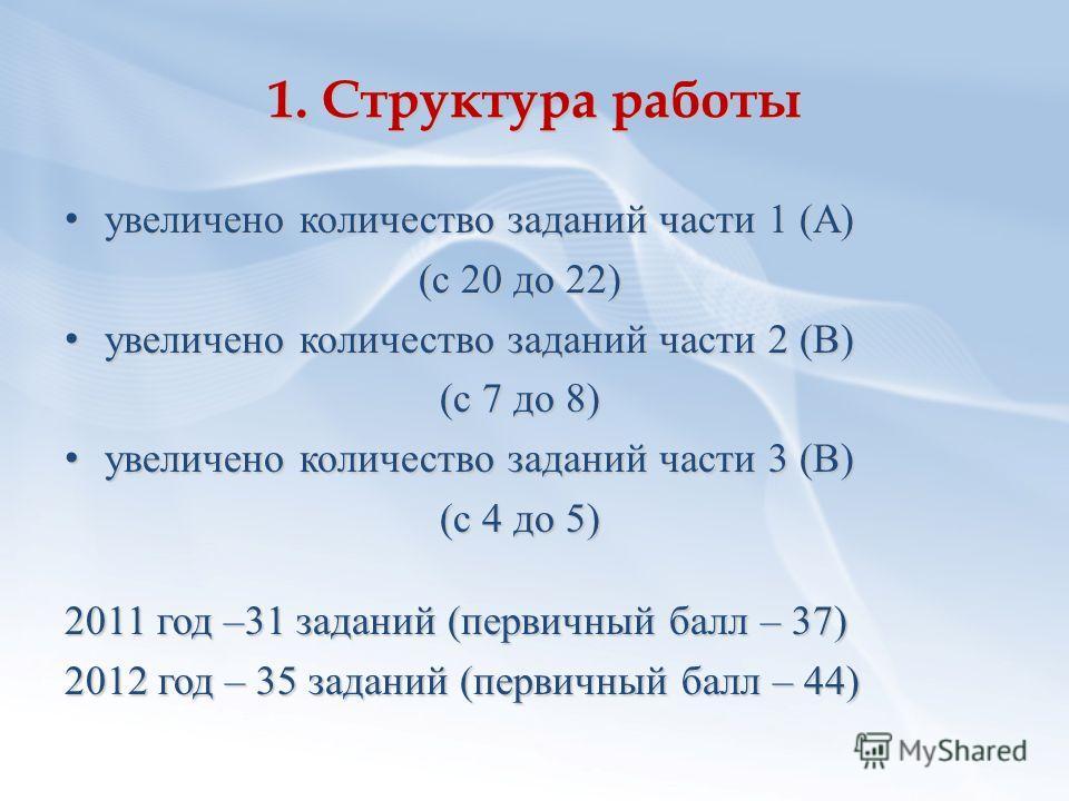 1. Структура работы увеличено количество заданий части 1 (А) увеличено количество заданий части 1 (А) (с 20 до 22) увеличено количество заданий части 2 (В) увеличено количество заданий части 2 (В) (с 7 до 8) увеличено количество заданий части 3 (В) у
