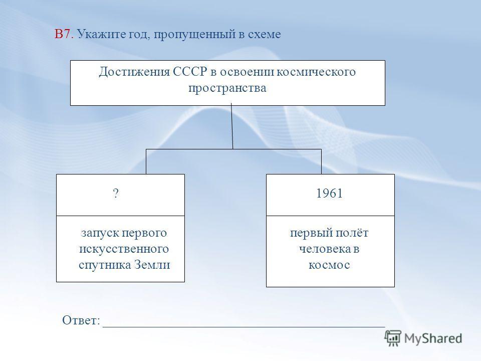 В7. Укажите год, пропущенный в схеме Достижения СССР в освоении космического пространства ? запуск первого искусственного спутника Земли 1961 первый полёт человека в космос Ответ: __________________________________________
