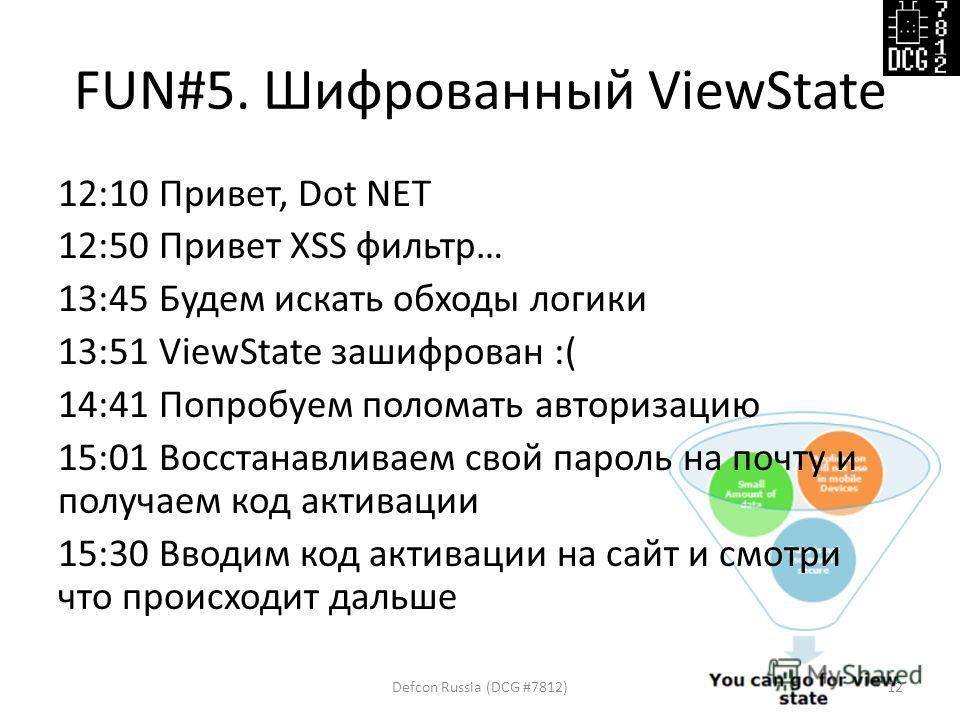 FUN#5. Шифрованный ViewState 12:10 Привет, Dot NET 12:50 Привет XSS фильтр… 13:45 Будем искать обходы логики 13:51 ViewState зашифрован :( 14:41 Попробуем поломать авторизацию 15:01 Восстанавливаем свой пароль на почту и получаем код активации 15:30