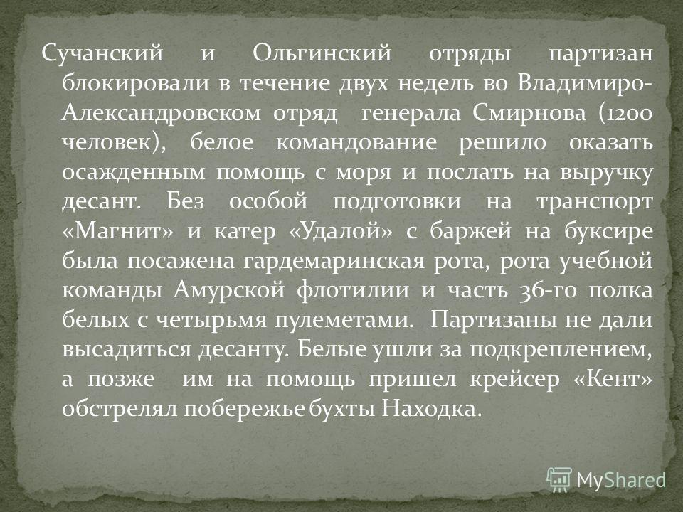 Сучанский и Ольгинский отряды партизан блокировали в течение двух недель во Владимиро- Александровском отряд генерала Смирнова (1200 человек), белое командование решило оказать осажденным помощь с моря и послать на выручку десант. Без особой подготов
