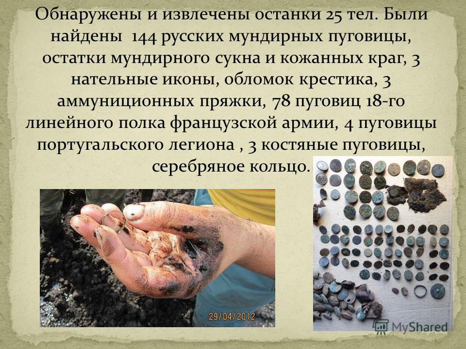 Обнаружены и извлечены останки 25 тел. Были найдены 144 русских мундирных пуговицы, остатки мундирного сукна и кожанных краг, 3 нательные иконы, обломок крестика, 3 аммуниционных пряжки, 78 пуговиц 18-го линейного полка французской армии, 4 пуговицы