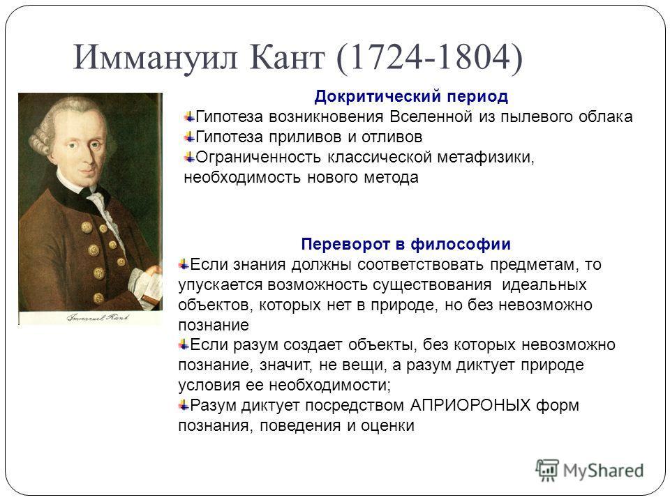 Иммануил Кант (1724-1804) Докритический период Гипотеза возникновения Вселенной из пылевого облака Гипотеза приливов и отливов Ограниченность классической метафизики, необходимость нового метода Переворот в философии Если знания должны соответствоват