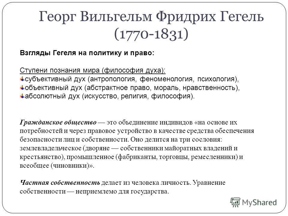 Георг Вильгельм Фридрих Гегель (1770-1831) Взгляды Гегеля на политику и право: Ступени познания мира (философия духа): субъективный дух (антропология, феноменология, психология), объективный дух (абстрактное право, мораль, нравственность), абсолютный