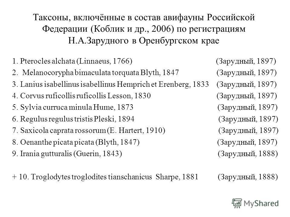 Таксоны, включённые в состав авифауны Российской Федерации (Коблик и др., 2006) по регистрациям Н.А.Зарудного в Оренбургском крае 1. Pterocles alchata (Linnaeus, 1766) (Зарудный, 1897) 2. Melanocorypha bimaculata torquata Blyth, 1847 (Зарудный, 1897)
