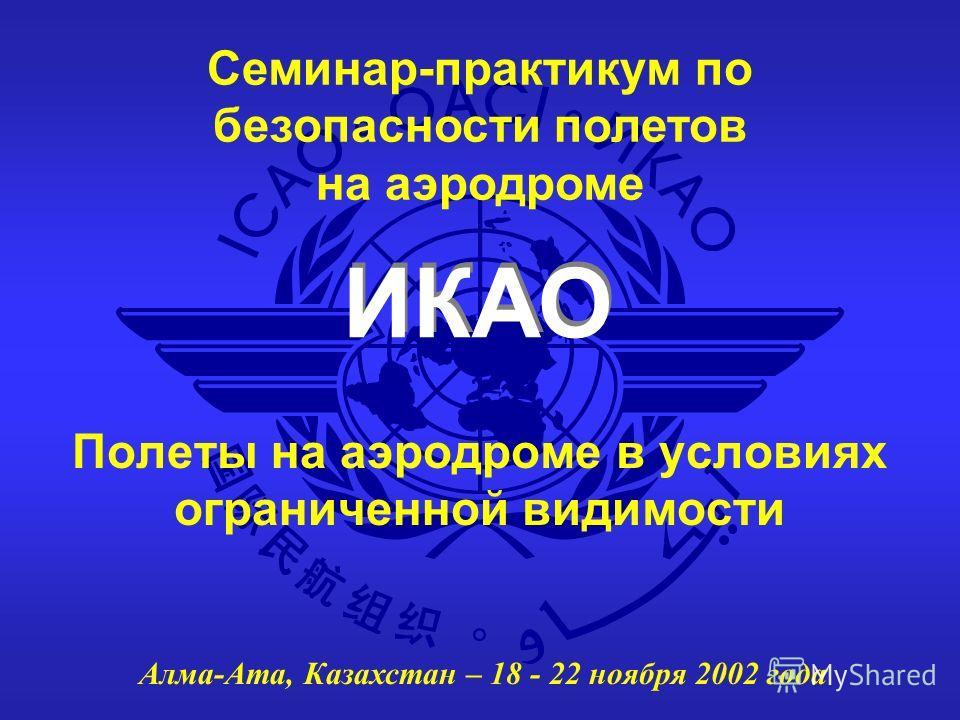 ИКАО Семинар-практикум по безопасности полетов на аэродроме Алма-Ата, Казахстан – 18 - 22 ноября 2002 года Полеты на аэродроме в условиях ограниченной видимости