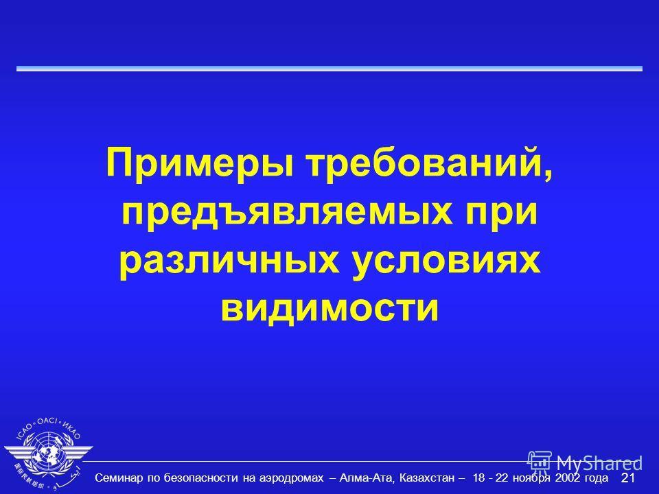 Семинар по безопасности на аэродромах – Алма-Ата, Казахстан – 18 - 22 ноября 2002 года 21 Примеры требований, предъявляемых при различных условиях видимости