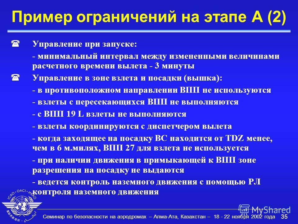 Семинар по безопасности на аэродромах – Алма-Ата, Казахстан – 18 - 22 ноября 2002 года 35 Пример ограничений на этапе A (2) (Управление при запуске: - минимальный интервал между измененными величинами расчетного времени вылета - 3 минуты (Управление