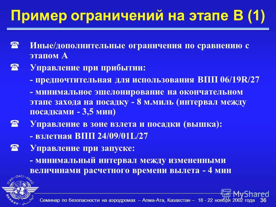 Семинар по безопасности на аэродромах – Алма-Ата, Казахстан – 18 - 22 ноября 2002 года 36 Пример ограничений на этапе B (1) (Иные/дополнительные ограничения по сравнению с этапом A (Управление при прибытии: - предпочтительная для использования ВПП 06