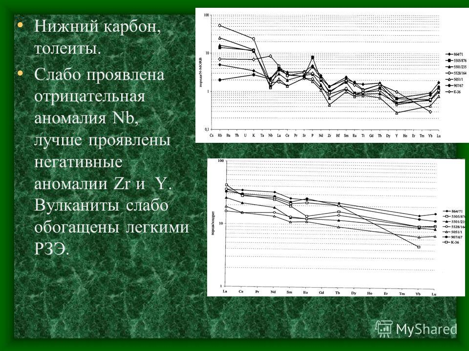 Нижний карбон, толеиты. Слабо проявлена отрицательная аномалия Nb, лучше проявлены негативные аномалии Zr и Y. Вулканиты слабо обогащены легкими РЗЭ.