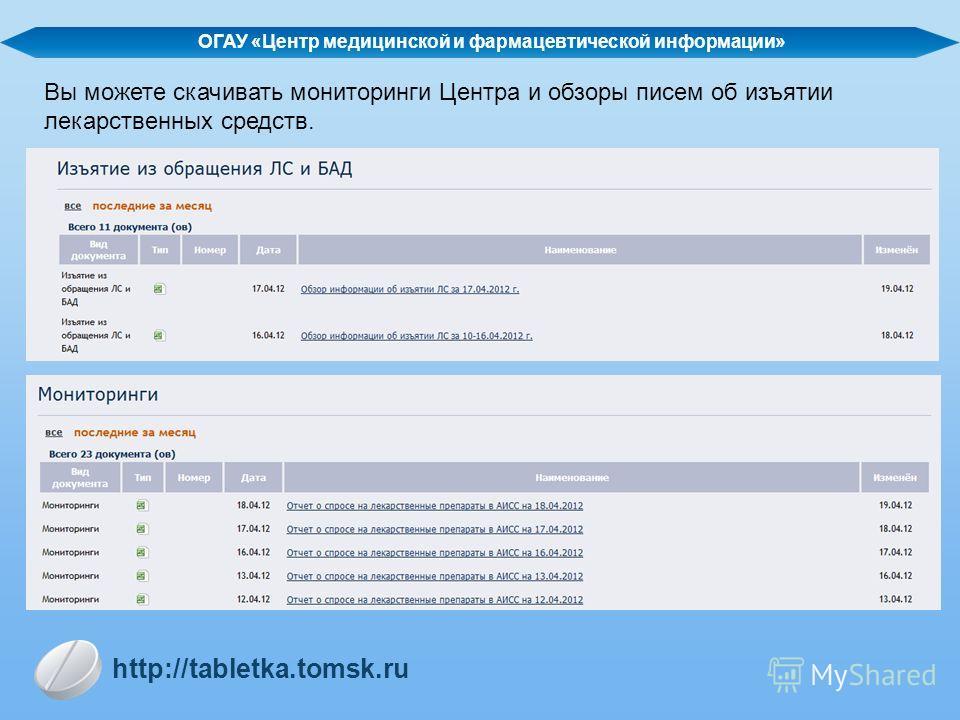 ОГАУ «Центр медицинской и фармацевтической информации» http://tabletka.tomsk.ru Вы можете скачивать мониторинги Центра и обзоры писем об изъятии лекарственных средств.