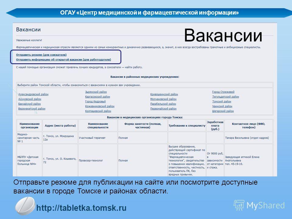 Вакансии ОГАУ «Центр медицинской и фармацевтической информации» http://tabletka.tomsk.ru Отправьте резюме для публикации на сайте или посмотрите доступные вакансии в городе Томске и районах области.