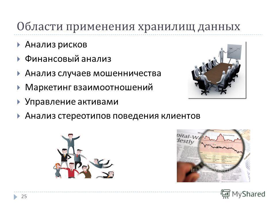 Области применения хранилищ данных Анализ рисков Финансовый анализ Анализ случаев мошенничества Маркетинг взаимоотношений Управление активами Анализ стереотипов поведения клиентов 25