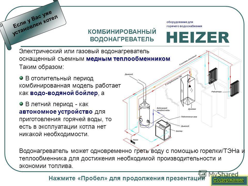 HEIZER оборудование для горячего водоснабжения Нажмите «Пробел» для продолжения презентации КОМБИНИРОВАННЫЙ ВОДОНАГРЕВАТЕЛЬ Таким образом: В отопительный период комбинированная модель работает как водо-водяной бойлер, а В летний период - как автономн