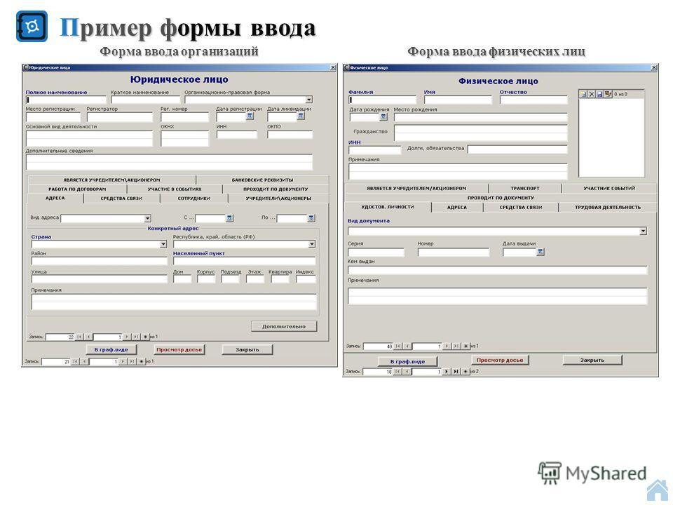 Пример формы ввода Форма ввода организаций Форма ввода физических лиц