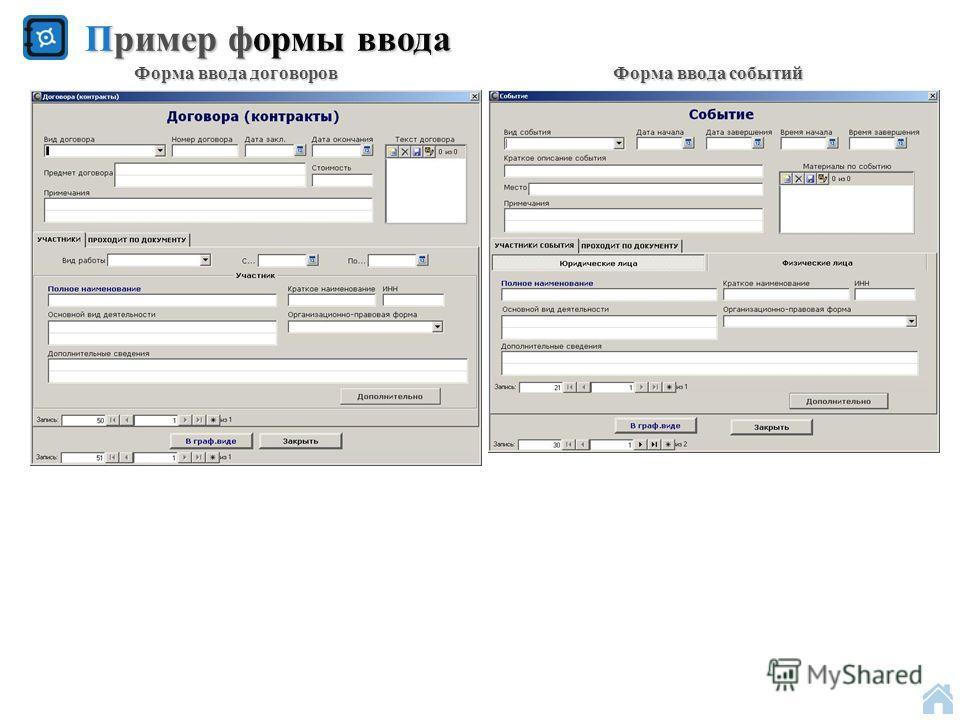 Пример формы ввода Форма ввода договоров Форма ввода событий