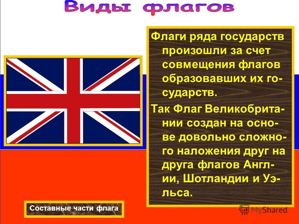 Флаги ряда государств произошли за счет совмещения флагов образовавших их го- сударств. Так Флаг Великобрита- нии создан на осно- ве довольно сложно- го наложения друг на друга флагов Англ- ии, Шотландии и Уэ- льса. Составные части флага Флаги ряда г