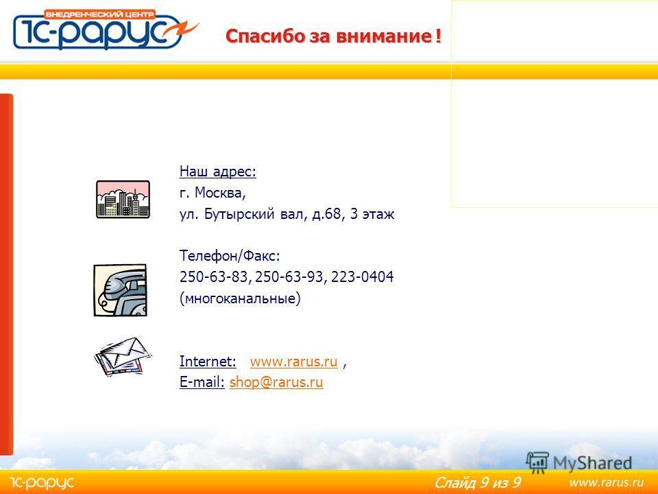 Слайд 9 из 9 Спасибо за внимание ! Наш адрес: г. Москва, ул. Бутырский вал, д.68, 3 этаж Телефон/Факс: 250-63-83, 250-63-93, 223-0404 (многоканальные) Internet: www.rarus.ru,www.rarus.ru E-mail: shop@rarus.rushop@rarus.ru