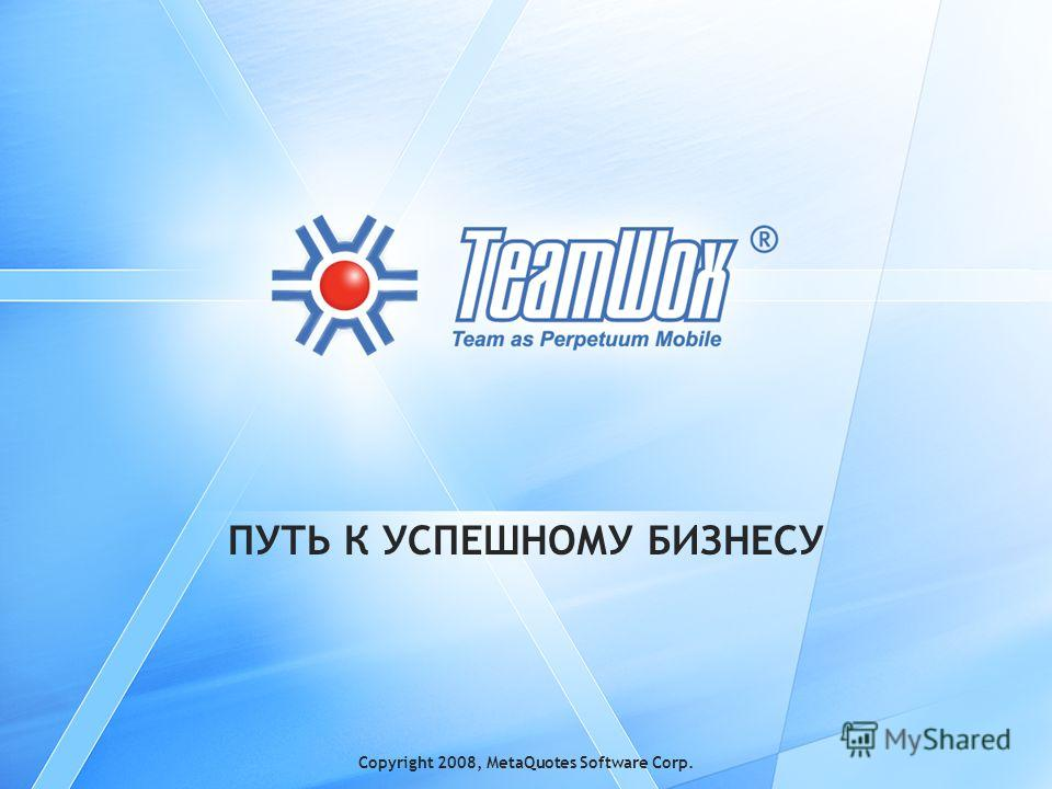 Copyright 2008, MetaQuotes Software Corp. ПУТЬ К УСПЕШНОМУ БИЗНЕСУ