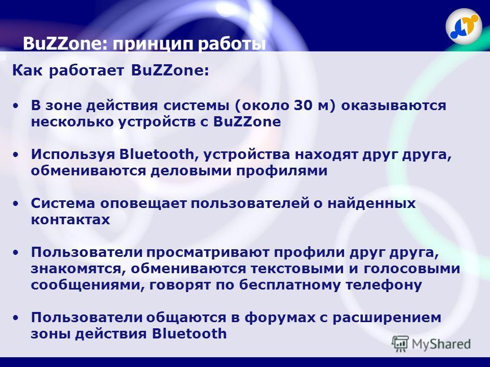 BuZZone: принцип работы Как работает BuZZone: В зоне действия системы (около 30 м) оказываются несколько устройств с BuZZone Используя Bluetooth, устройства находят друг друга, обмениваются деловыми профилями Система оповещает пользователей о найденн