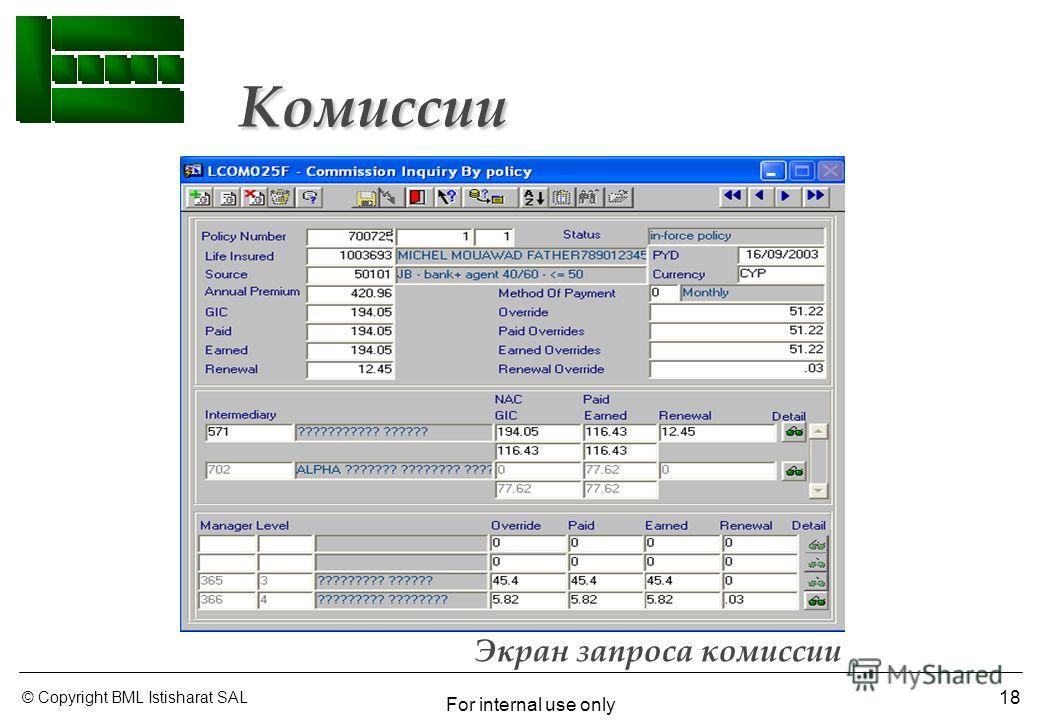 © Copyright BML Istisharat SAL For internal use only 18 Экран запроса комиссии Комиссии Комиссии
