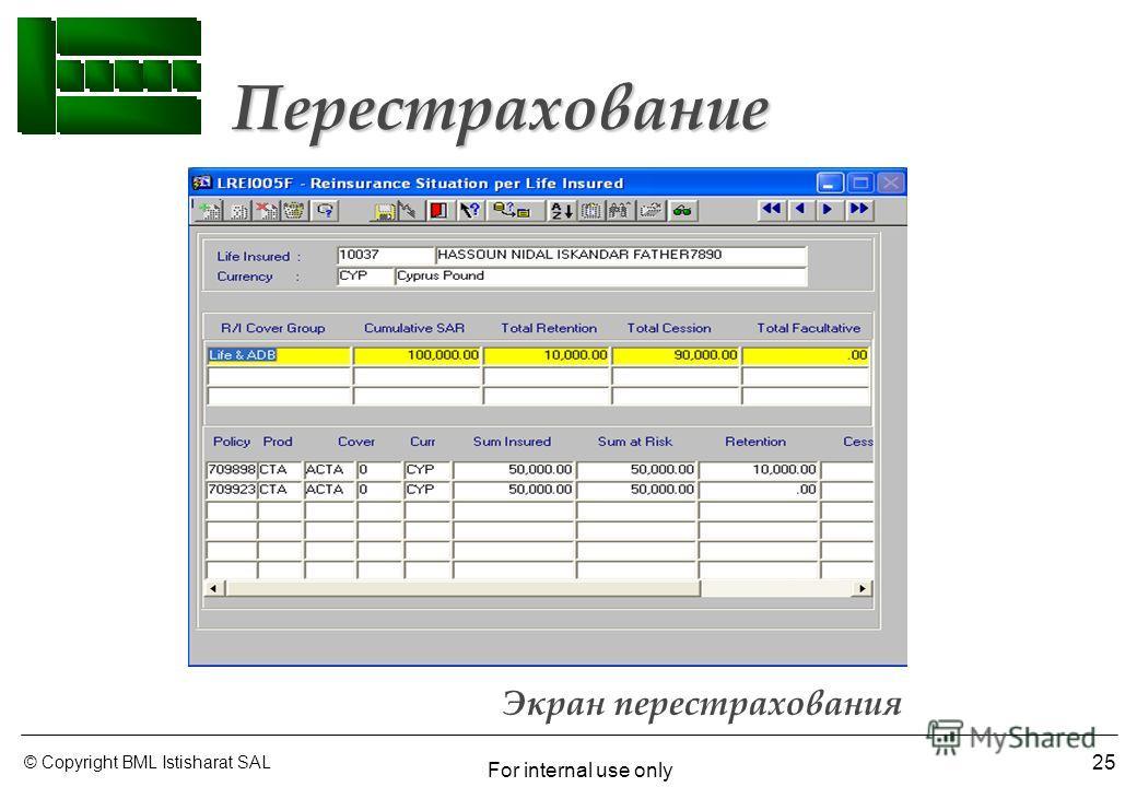 © Copyright BML Istisharat SAL For internal use only 25 Экран перестрахования Перестрахование