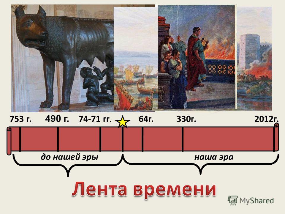 до нашей эрынаша эра 490 г. 74-71 гг. 753 г.330г.64г.2012г.