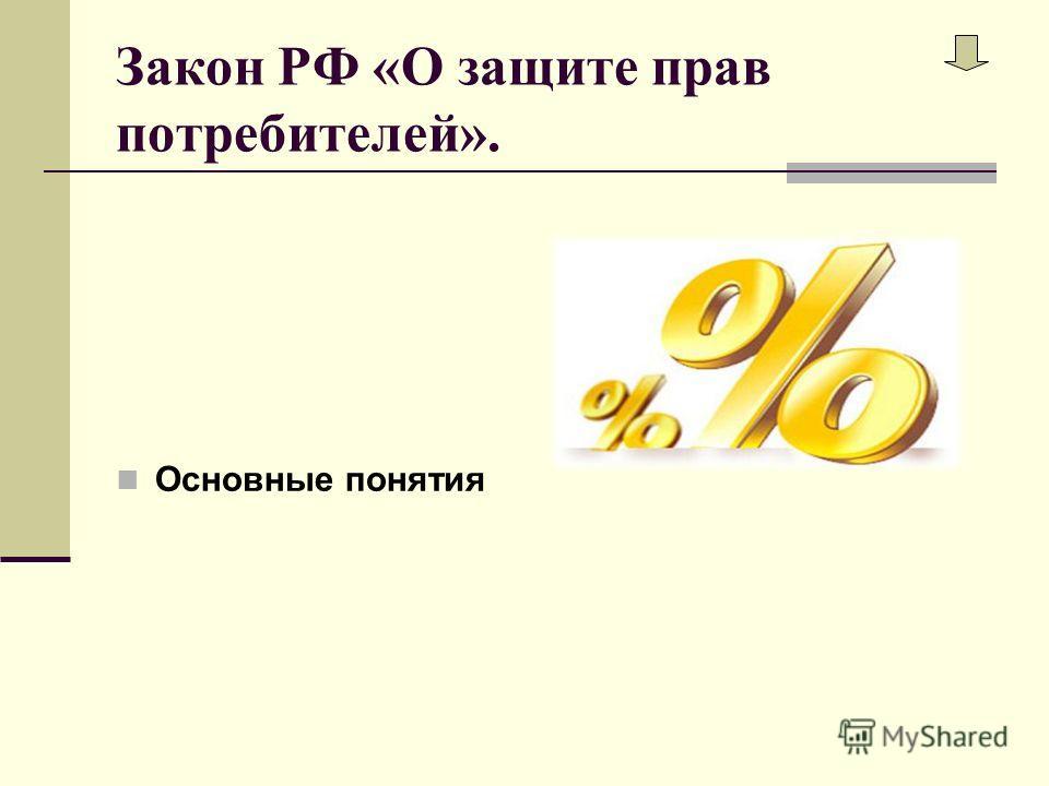 Закон РФ «О защите прав потребителей». Основные понятия