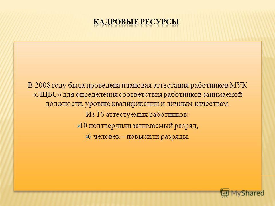 В 2008 году была проведена плановая аттестация работников МУК «ЛЦБС» для определения соответствия работников занимаемой должности, уровню квалификации и личным качествам. Из 16 аттестуемых работников: 10 подтвердили занимаемый разряд, 6 человек – пов
