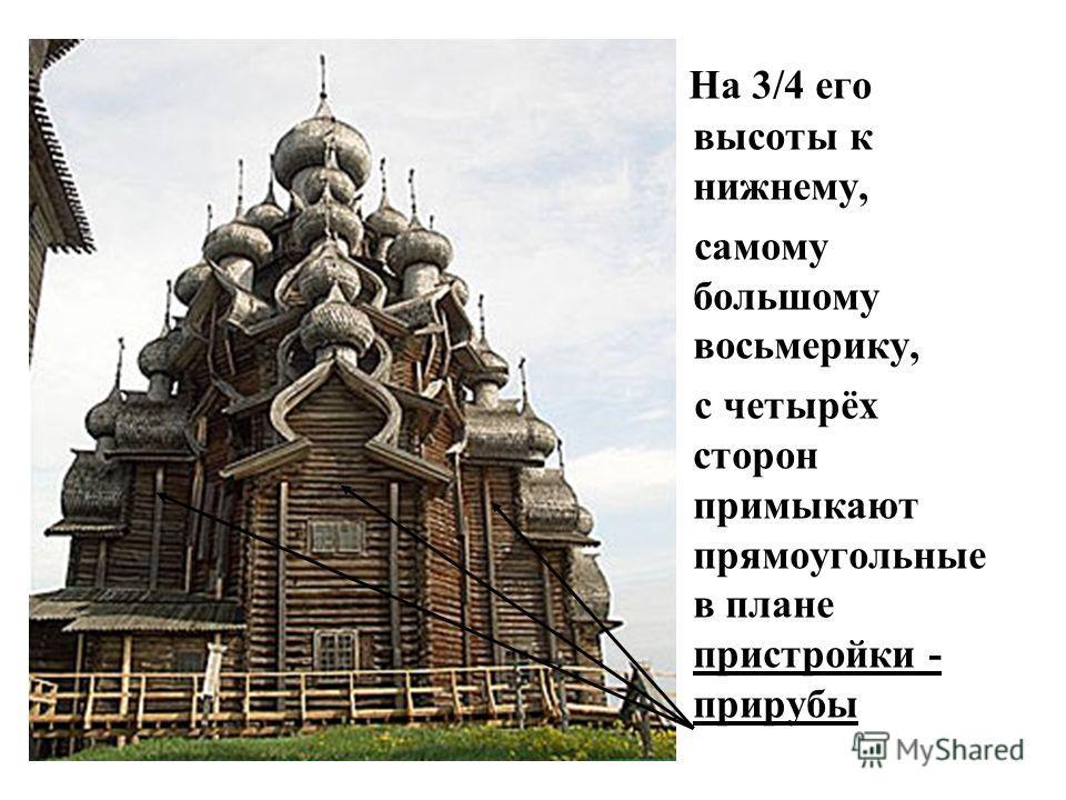 В основании здания церкви Спаса Преображения заложен восьмигранный сруб - «восьмерик» с четырьмя двухступенчатыми прирубами, расположенными по сторонам света