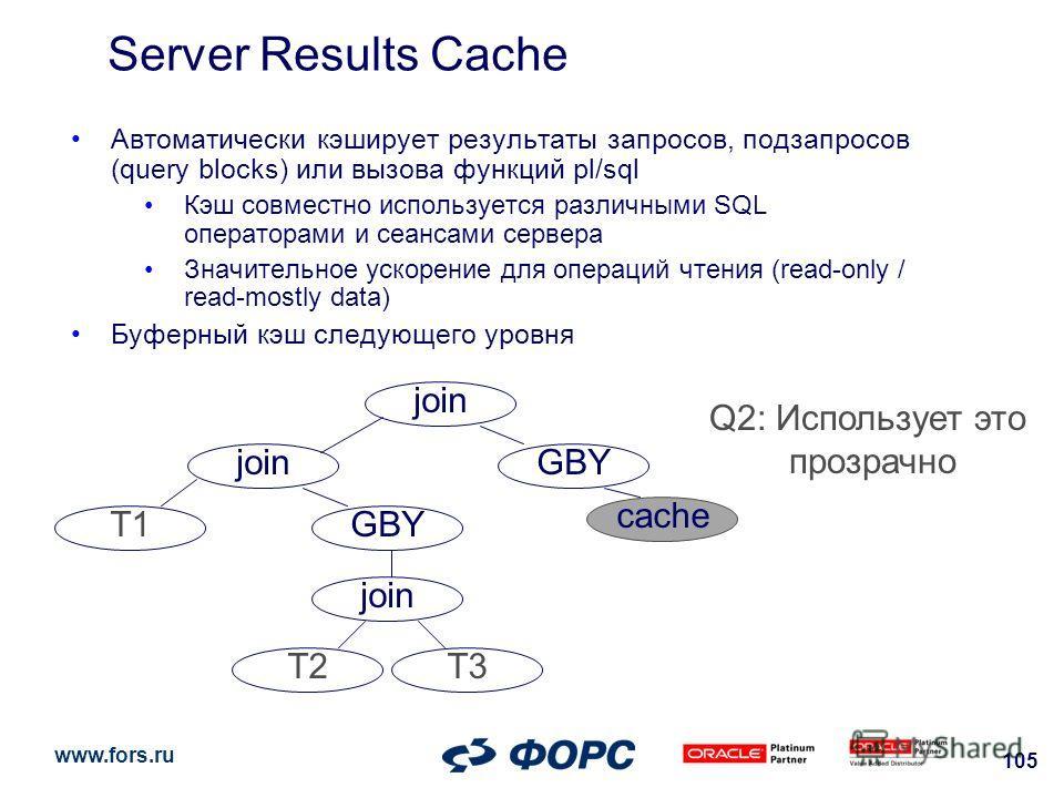 www.fors.ru 105 Server Results Cache join T1GBY join T2T3 GBY join T4join T5T6 join T1GBY join T2T3 GBY join T4join T5T6 Q1: build query cache join T1GBY join T2T3 GBY Q2: Использует это прозрачно cache Автоматически кэширует результаты запросов, под
