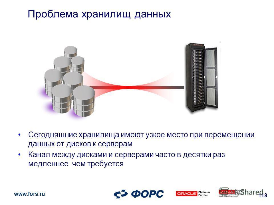 www.fors.ru 118 Сегодняшние хранилища имеют узкое место при перемещении данных от дисков к серверам Канал между дисками и серверами часто в десятки раз медленнее чем требуется Проблема хранилищ данных