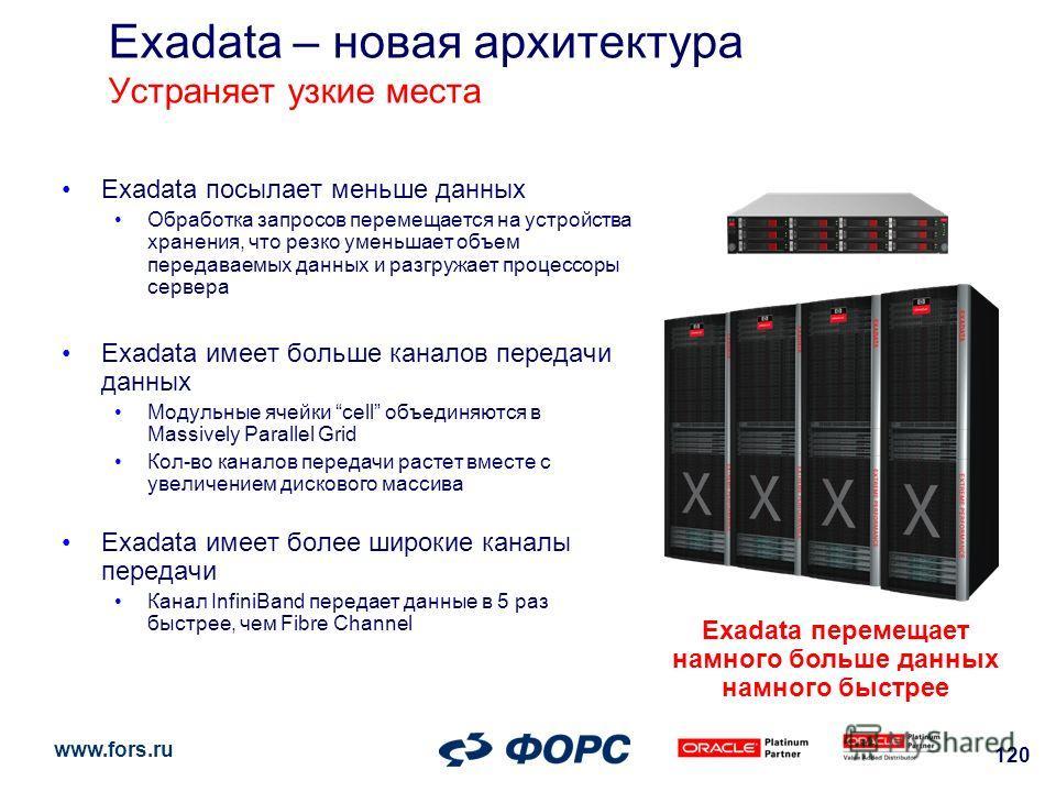 www.fors.ru 120 Exadata – новая архитектура Устраняет узкие места Exadata посылает меньше данных Обработка запросов перемещается на устройства хранения, что резко уменьшает объем передаваемых данных и разгружает процессоры сервера Exadata имеет больш