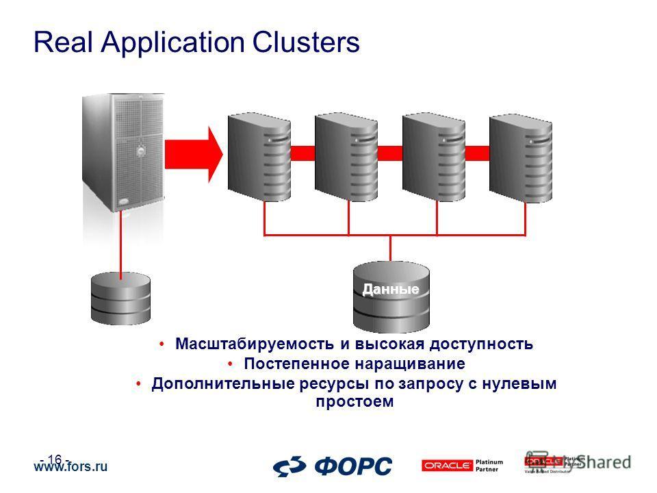 www.fors.ru - 16 - Масштабируемость и высокая доступность Постепенное наращивание Дополнительные ресурсы по запросу с нулевым простоем Данные Real Application Clusters