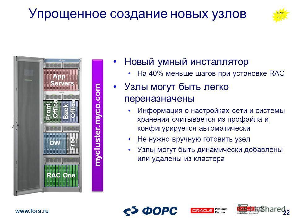 www.fors.ru 22 Front Office DW Back Office Free App Servers Упрощенное создание новых узлов Новый умный инсталлятор На 40% меньше шагов при установке RAC Узлы могут быть легко переназначены Информация о настройках сети и системы хранения считывается