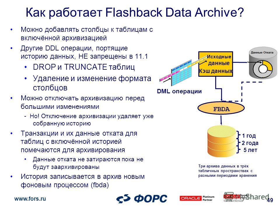 www.fors.ru 49 Можно добавлять столбцы к таблицам с включённой архивизацией Другие DDL операции, портящие историю данных, НЕ запрещены в 11.1 DROP и TRUNCATE таблиц Удаление и изменение формата столбцов Можно отключать архивизацию перед большими изме