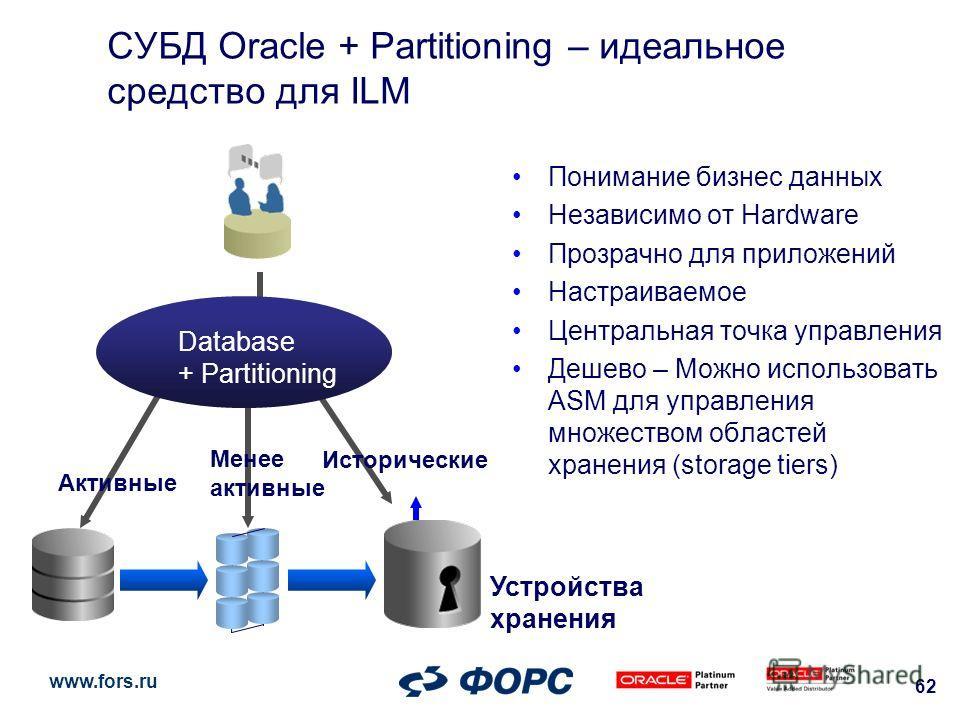 www.fors.ru 62 Устройства хранения СУБД Oracle + Partitioning – идеальное средство для ILM Понимание бизнес данных Независимо от Hardware Прозрачно для приложений Настраиваемое Центральная точка управления Дешево – Можно использовать ASM для управлен