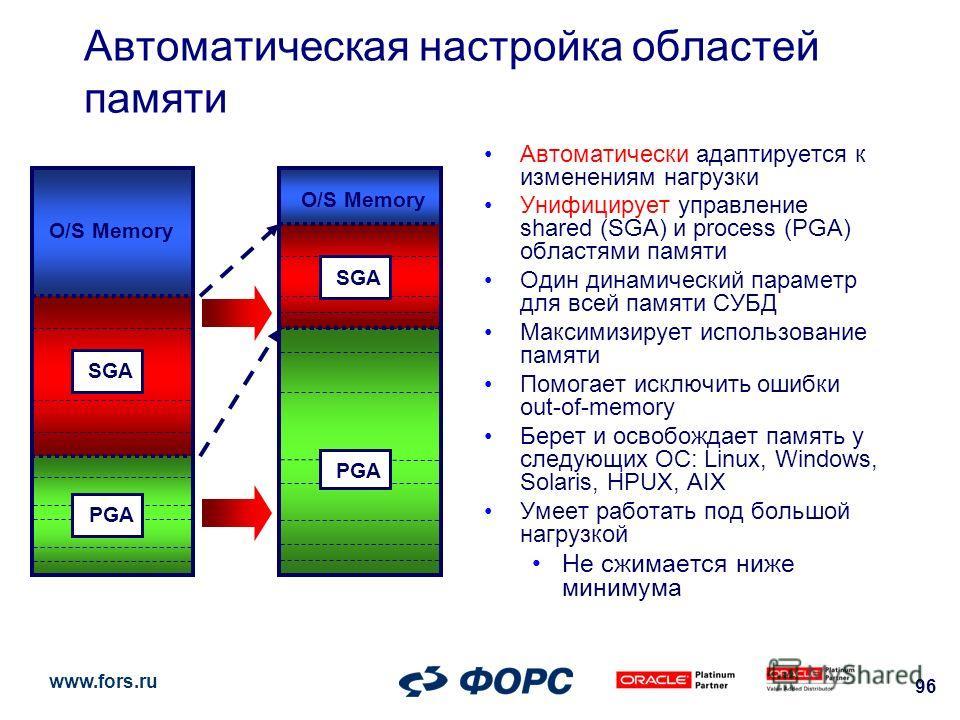 www.fors.ru 96 Автоматическая настройка областей памяти Автоматически адаптируется к изменениям нагрузки Унифицирует управление shared (SGA) и process (PGA) областями памяти Один динамический параметр для всей памяти СУБД Максимизирует использование
