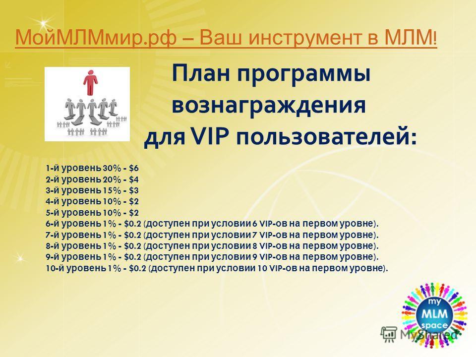 План программы вознаграждения для VIP пользователей: 1- й уровень 30% - $6 2- й уровень 20% - $4 3- й уровень 15% - $3 4- й уровень 10% - $2 5- й уровень 10% - $2 6- й уровень 1% - $0.2 ( доступен при условии 6 VIP- ов на первом уровне ). 7- й уровен
