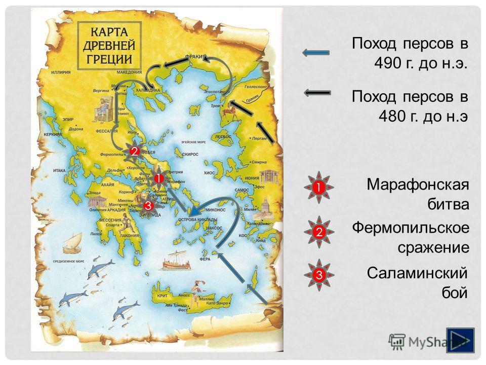 Поход персов в 490 г. до н.э. 1 Поход персов в 480 г. до н.э 2 3 1 3 2 Марафонская битва Фермопильское сражение Саламинский бой