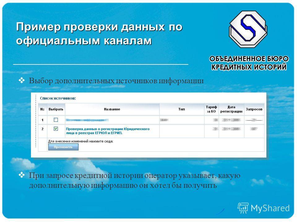 Пример проверки данных по официальным каналам Выбор дополнительных источников информации При запросе кредитной истории оператор указывает, какую дополнительную информацию он хотел бы получить