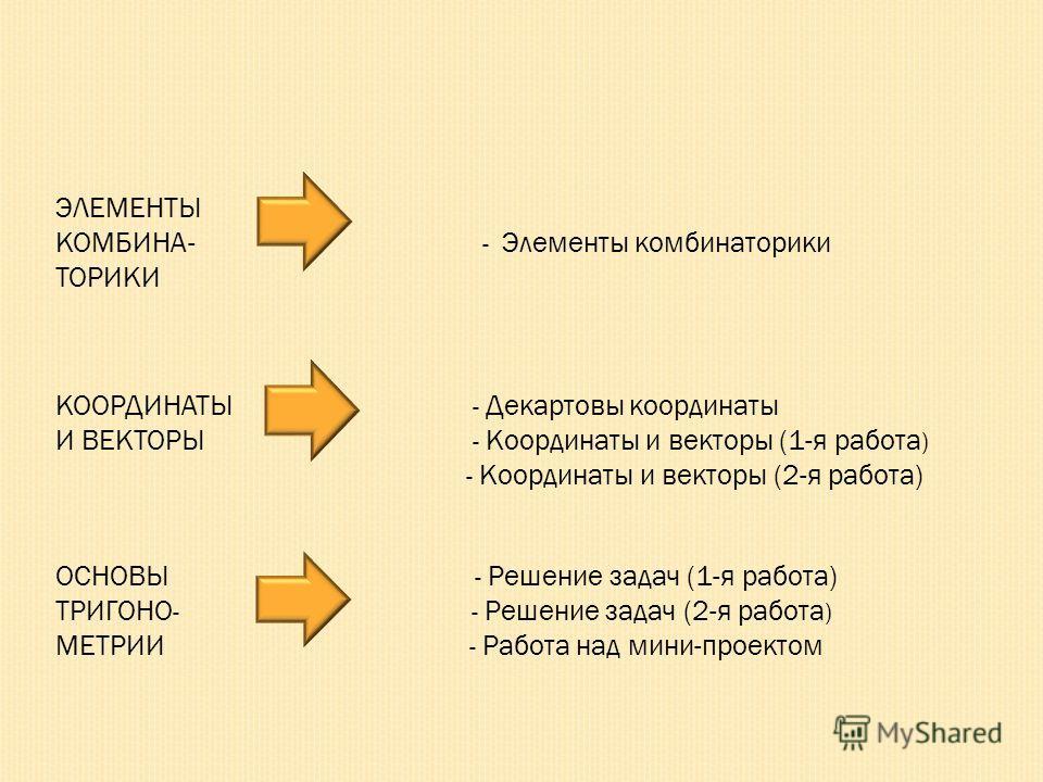 ЭЛЕМЕНТЫ КОМБИНА- - Элементы комбинаторики ТОРИКИ КООРДИНАТЫ - Декартовы координаты И ВЕКТОРЫ - Координаты и векторы (1-я работа ) - Координаты и векторы (2-я работа) ОСНОВЫ - Решение задач (1-я работа) ТРИГОНО - - Решение задач (2-я работа ) МЕТРИИ